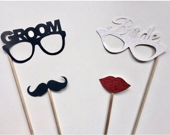 4-Piece Bride and Groom Photo Booth Prop Set- Bachelor, Bachelorette, Wedding, Glasses, Moustache, lips glitter Photo Booth Prop