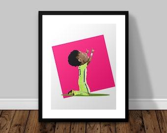 Neymar Jr Barcelona Celebration Illustrated Poster Print | A6 A5 A4 A3