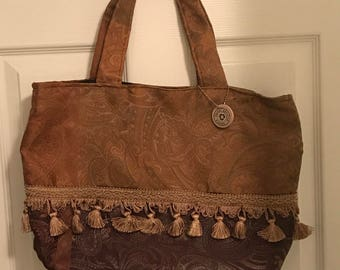 Jacquard Print Upcycled Tote/Purse