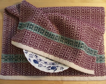 Handwoven Dishtowel Cotton Eggplant Purple Aqua Emerald Green