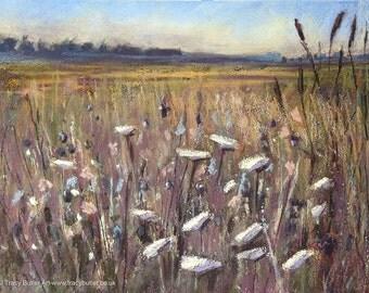 Flower Field    original painting   pastel   soft pastel   chalk pastel   flowers   landscape art   meadow   landscape   Tracy Butler