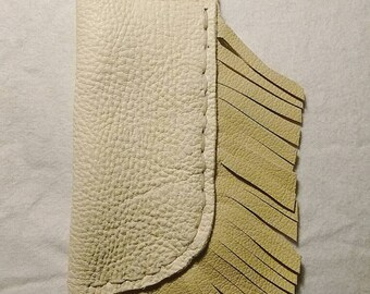 Handcrafted White Elk Hide Fringed Knife Sheath, Fits Most Folding Knives