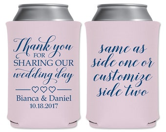 Wedding Can Coolers Beverage Insulator Personalized Wedding Favors | Thank You for Sharing Our Wedding Day | Can Holders | READ DESCRIPTION
