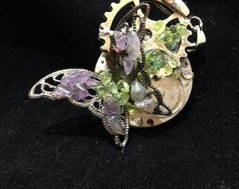 Amethyst and Peridot Butterfly Steampunk Pendant
