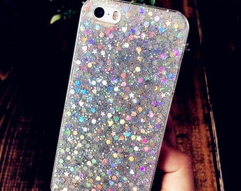 Holographic Glitter iPhone Cover Case | Resin Glitter 7 Case Cute Clear iPhone 6s Case Sparkle iPhone 5s Case SE Bling iPhone Plus Case