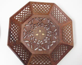 Carved Indian Teakwood Tray, carved indian wood tray, carved wood platter, carved wood basket