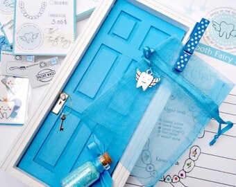 Blue Tooth Fairy Kit, Tooth Fairy Door,Tooth Fairy kit for Boys, Lost Tooth Receipt, Lost Tooth Chart, Fairy Door, Blue Fairy Door
