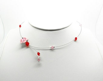 wire flower Choker necklace leather and swarovski crystal pearls