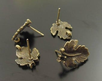 Antique gold leaf studs 30Pcs #jewellery findings