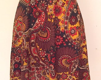 Vintage 1960s 1970s Pailsey Mod Mini Skirt Scooter Skirt High Waist Skirt Retro Mod Hippie Boho Festival Flower Power