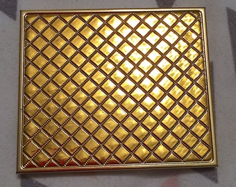 Vintage 1950s 1960s Gold Tone Brass Compact Mirror Mod Retro Compact