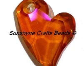 Swarovski CRYSTAL ASTRAL PINK 6261 17mm Devoted 2 U Heart Pendant 1 Pc - Swarovski Crystal Elements Beads