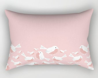 Custom listing for Cathy,  Rose Quartz Pink Blush Pillow Cover with Birds 20x14 without an insert.