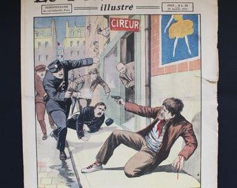 French Newspaper. Le Petit Journal Illustré. Color Illustration. Antique Ephemera. Mixed Media Art. French Vintage Journal. January 14, 1923