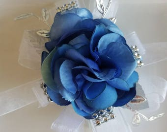 Shades of Blue White and Silver Wrist Corsage Ready to Ship