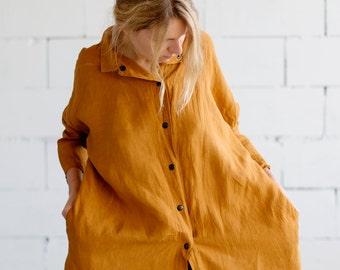 100% Linen Mustard 3/4 sleeve Dress, hand made in London, sustainable, artisan, fashion