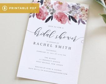 Bridal Shower Invitation Template, Printable PDF Wedding Shower, Download Bridal Shower Invite, DIY Floral Wedding Shower Invite Template