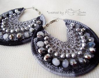 Crochet earrings, Gray earrimgs, Crochet hoops, Beaded earrings, Hoop earrings, Crochet jewelry, Beaded crochet earrings, Shiny earrings