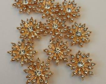 10 Cute Little Rhinestone Embellishments. UK.