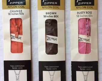 "Your Choice: Vintage New Talon Neckline Zipper 18"" Nylon Coil in Orange, Brown, or Dusty Rose Dark Pink"
