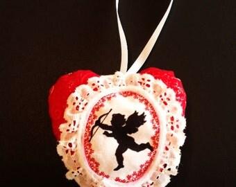 Valentine Heart Ornament, Valentine Gift,Valentine Heart,Cupid Valentine Sweetheart Gift,Valentine Felt Ornament,Cupid Ornament  CTO158
