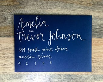 Wedding Invitation Calligraphy - White Ink on Navy Paper