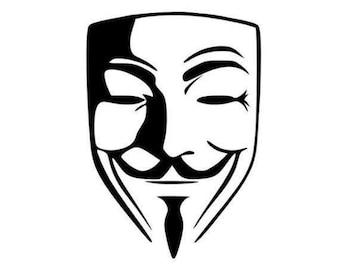 V for Vendetta Mask Vinyl Decal, V for Vendetta Decal, V for Vendetta, Car Decal, Vinyl Decal, Vinyl Sticker, Laptop Decal, Yeti Decal
