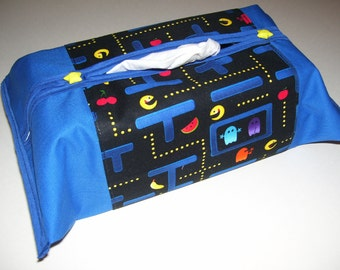 TISSUE BOX COVERS - pacman - pacman tissue box covers - pacman kleenex box - pacman decor - nintendo decor - pacman tissue covers