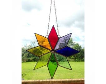Large Stained Glass Multi Coloured Star Sun-catcher