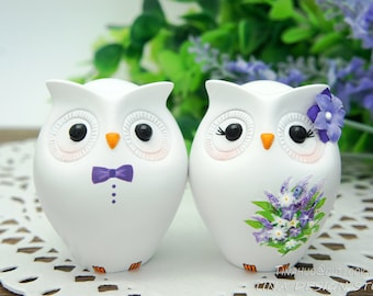 Custom Owl Wedding Cake Toppers Purple Themed- Unique Owl Bride And Groom Country Wedding Cake Toppers-Love Bird Wedding Cake Toppers