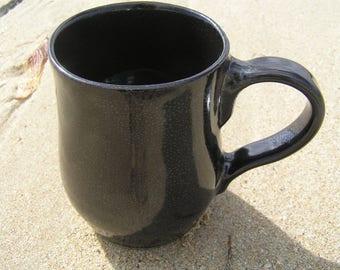 Black coffee mug - stoneware mug - ceramic mug - hand made mug