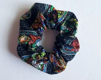 Legend of Zelda Scrunchie - Nintendo Hair Tie - Zelda Hair Tie - Nerdy Scrunchie - Stained Glass Print - Triforce Scrunchie - Link Hair Tie