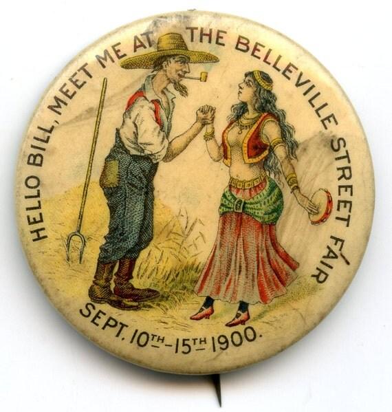 "FREE SHIPPING-Antique-1900-Celluloid-Advertising-Pinback-""Hello Bill, Meet Me At The Belleville Street Fair""-Pin-Button"