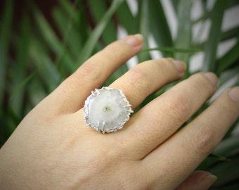 Solar quartz ring, white quartz, sterling silver ring, white ring, gemstone ring, adjustable ring, statement ring, quartz jewelry, crystal
