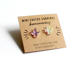 Mini Cactus Iridescent Earrings