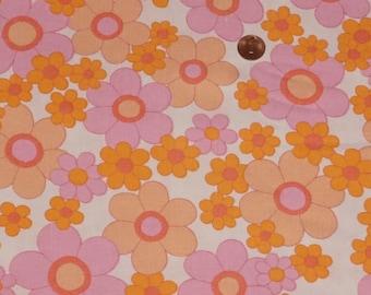 Vintage fabric fabric tissu 70s 70s flower power BW