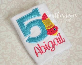 Shopkin Birthday Shirt, Girls Birthday Shirt, Shopkin Shirt, Shopkin gift, Shopkin outfit, Shopkin with Name, Lippy Lips Shirt, Glitter