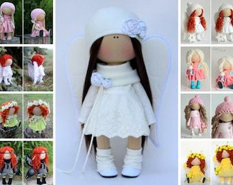 Winter doll Angel doll Christmas doll Tilda doll white doll Soft doll Cloth doll Textile doll Rag doll Interior doll by Master Olga P.