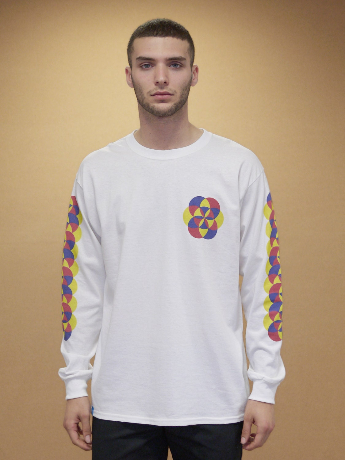 baggy oversized white long sleeved t shirt with 90s geometric