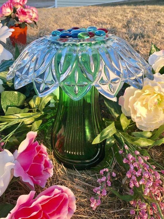 Items similar to Glass Garden Mushroom, Yard Art, Decor ...