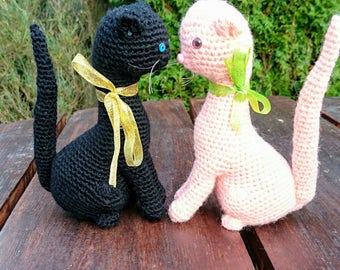 Cat 2 LOVELY crochet  - amigurumi eco lovely toy back and peach handmade cat - 20 cm tall chat
