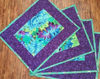 Placemats - beautiful tropical print-purple, green, blue- Easter, spring, summer - 4 available
