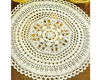 CROCHET PATTERN For A Round Doily - Twenty Inches In Diameter - PDF Instant Pattern Download - Make A Beautiful Lace Doily!