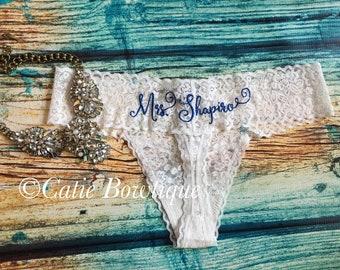 Personalized Bridal Thong/ White Lace  monogram thong/ something blue/ wedding/ bridal gift/ bridal panty/ lingerie