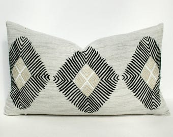 Heather Gray Geometric Lumbar Pillow Cover - 12 x 20