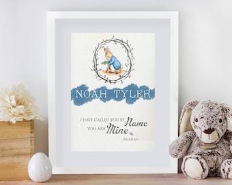 Framed Custom Nursery Print with Name & Scripture| Peter Rabbit
