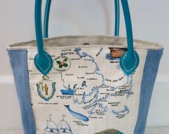 Tote, Shoulder bag, Fabric tote, Denim bag,  Massachusetts tote, Boston tote, Cute tote, Handmade bag, Blue tote, Handbag, OOAK bag, Uni bag