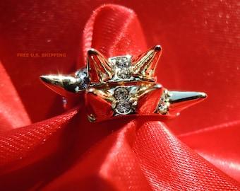 Rhinestone Gold Tone Spike Ring Size 5.75