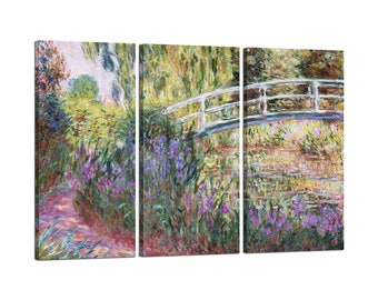 On canvas Claude Monet framed The Japanese Bridge, Pond with Water Lillies (detail)