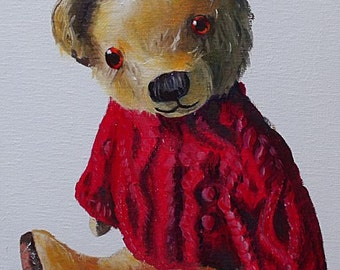 Bobby Cox Original Oil Painting Of A Teddy Bear Wearing A Red Jumper